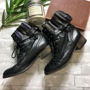 Steve Madden Black Combat Moto Boots 8.5 Leather